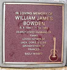 Will Bowden's Plaque