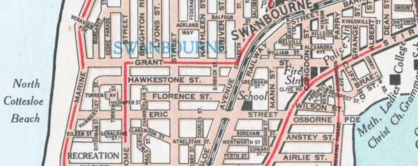 section of old Perth Street directory map